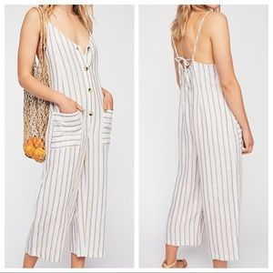 Free People Westminster Linen Striped Jumpsuit 12